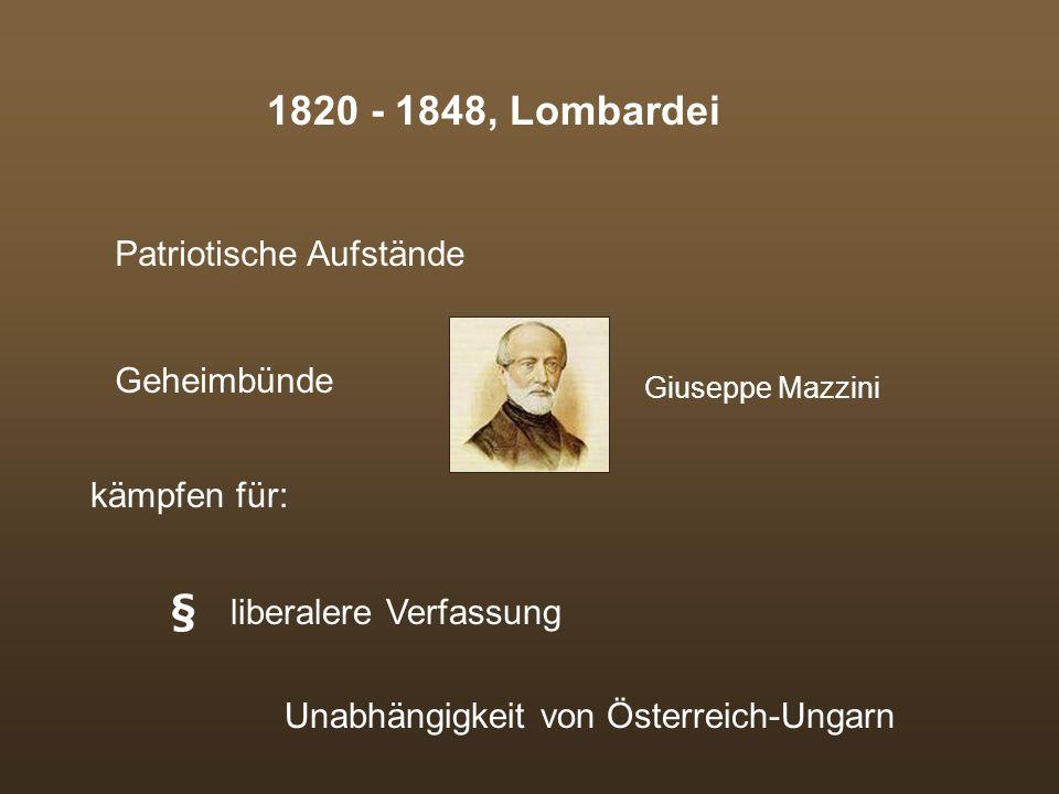 Kurzer Geschichtsabriss Risorgimento (Einheitsbestreben)