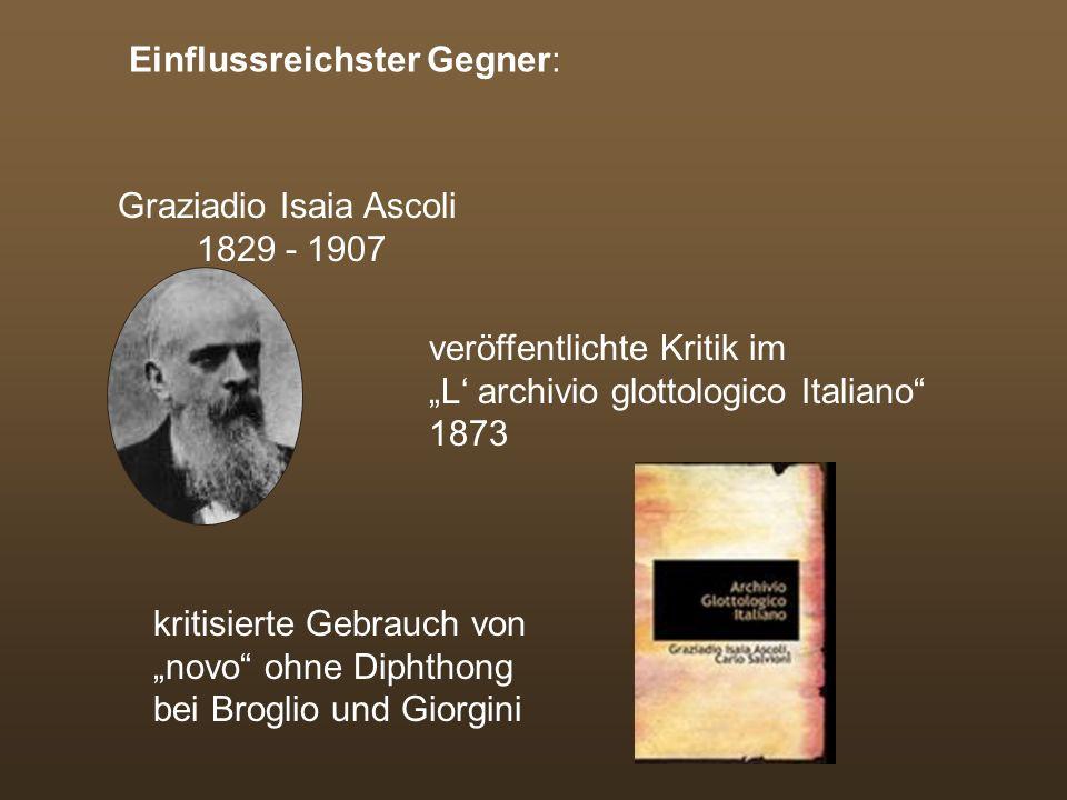 Mitglieder: Broglio, Manzonis Schwiegersohn Giorgini, Bianciardi, Pietro Fanfani und Agenore Gelli 1868: Ernennung eines Ausschusses zur Zusammenstell