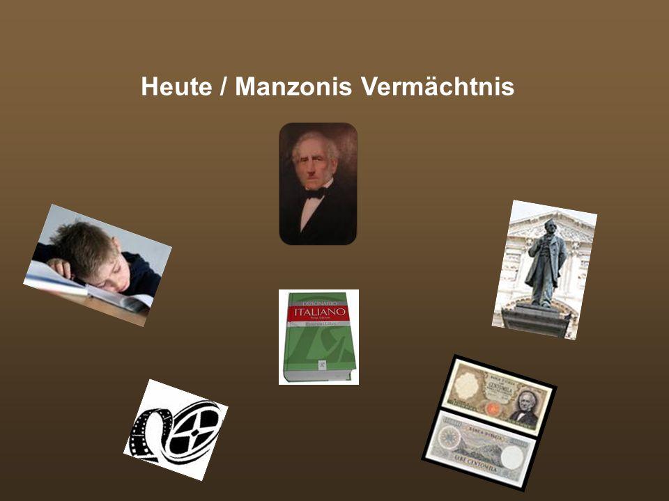 Direkter Einfluss Manzonis auf Literatur seiner Zeit: Grammatik von Giovanni Moise (erforscht Unregelmäßigkeiten der gesprochenen Sprache) Grammatik u