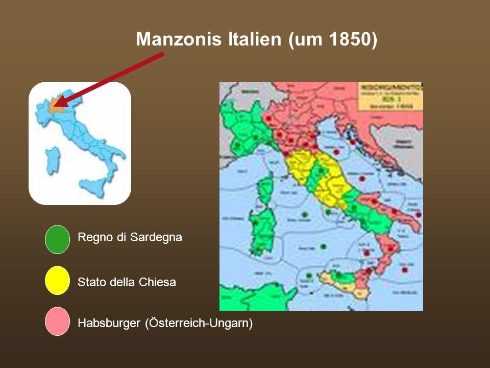 Sprache und Nation Streben nach unità linguistica begann lange vor der unità politica (Italienisch seit 1762 Amtssprache in Sardinien) erschwerende Aspekte: große regionale Sprachunterschiede, Analphabetismusrate 78% (1861), Schulsystem war nicht national koordiniert 1861 hat Italien 25 Mio Einwohner, von denen nur 600.000 (2,5%) Italienisch sprechen.