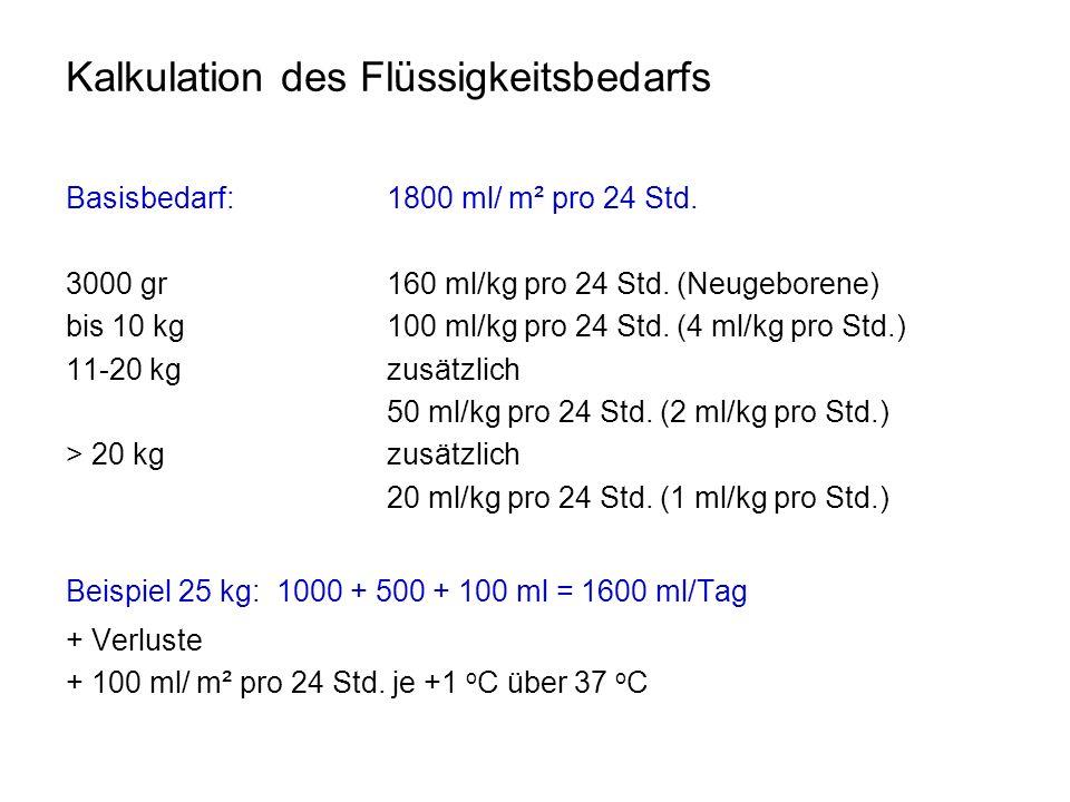 Kalkulation des Flüssigkeitsbedarfs Basisbedarf: 1800 ml/ m² pro 24 Std. 3000 gr 160 ml/kg pro 24 Std. (Neugeborene) bis 10 kg 100 ml/kg pro 24 Std. (