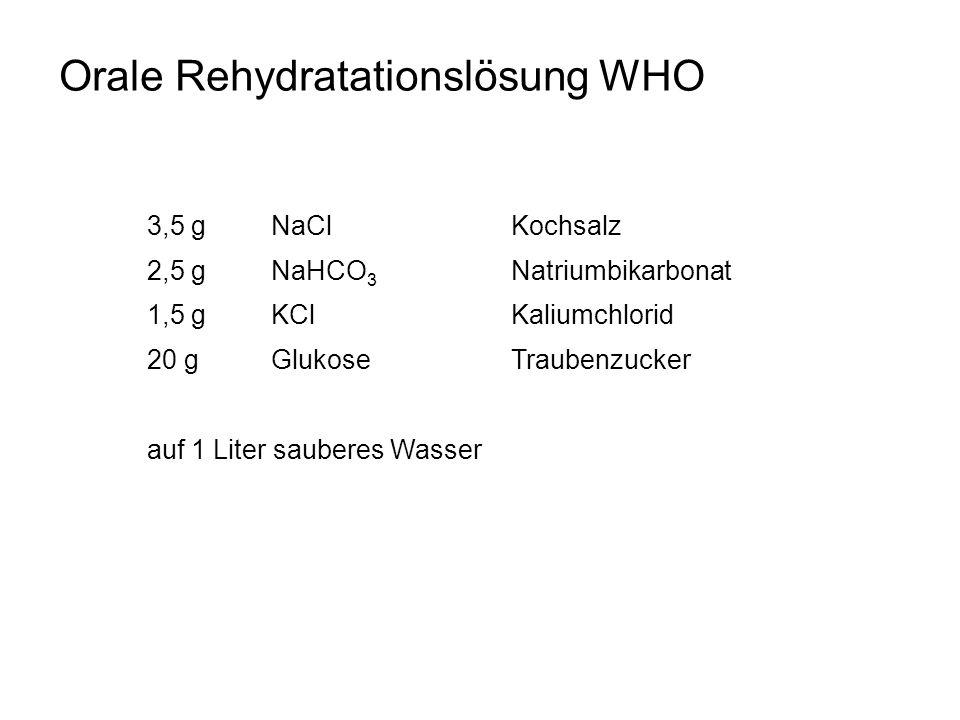Orale Rehydratationslösung WHO 3,5 g NaCl Kochsalz 2,5 g NaHCO 3 Natriumbikarbonat 1,5 g KClKaliumchlorid 20 g GlukoseTraubenzucker auf 1 Liter sauber
