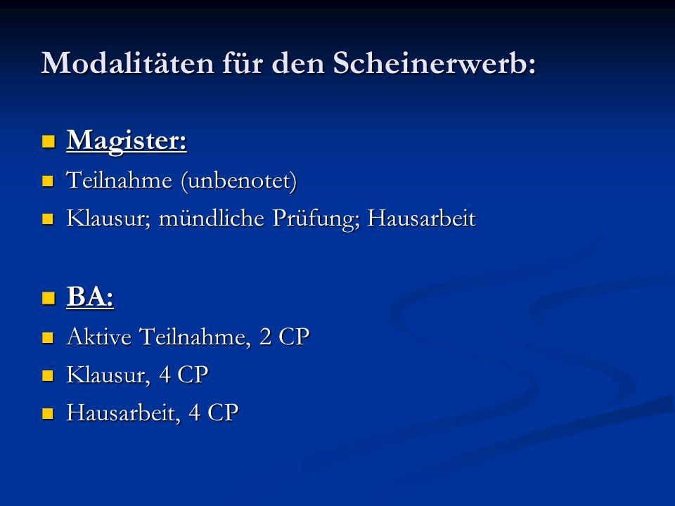 Modalitäten für den Scheinerwerb: Magister: Magister: Teilnahme (unbenotet) Teilnahme (unbenotet) Klausur; mündliche Prüfung; Hausarbeit Klausur; münd