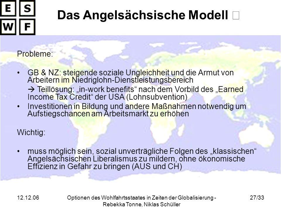 12.12.06Optionen des Wohlfahrtsstaates in Zeiten der Globalisierung - Rebekka Tonne, Niklas Schüller 27/33 Das Angelsächsische Modell Probleme: GB & N