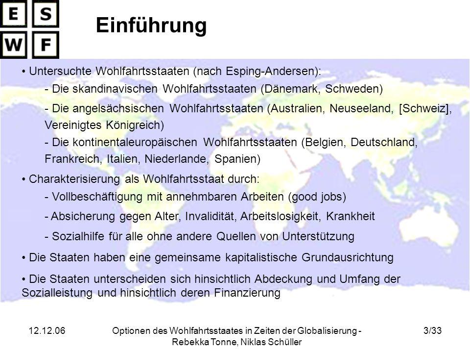 12.12.06Optionen des Wohlfahrtsstaates in Zeiten der Globalisierung - Rebekka Tonne, Niklas Schüller 3/33 Charakterisierung als Wohlfahrtsstaat durch: