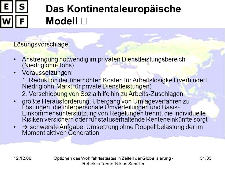 12.12.06Optionen des Wohlfahrtsstaates in Zeiten der Globalisierung - Rebekka Tonne, Niklas Schüller 31/33 Lösungsvorschläge: Anstrengung notwendig im