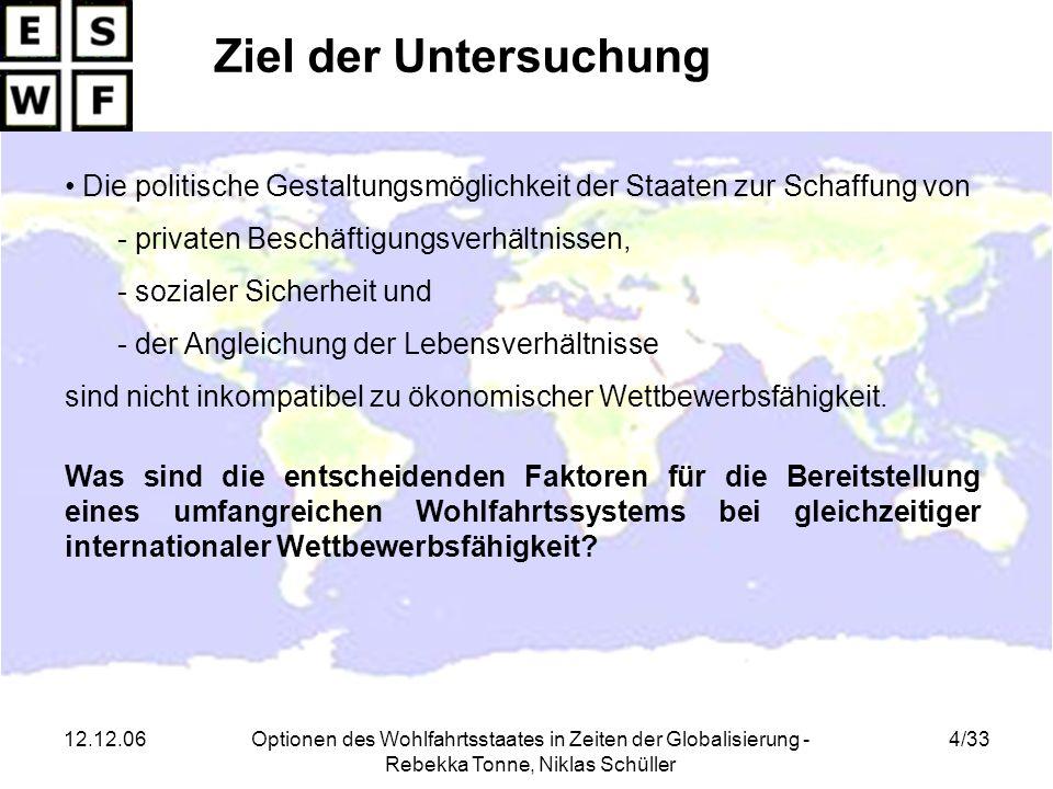 12.12.06Optionen des Wohlfahrtsstaates in Zeiten der Globalisierung - Rebekka Tonne, Niklas Schüller Anhang II Unbereinigtes Bestimmtheitsmaß R² Das Bestimmtheitsmaß (Abk.