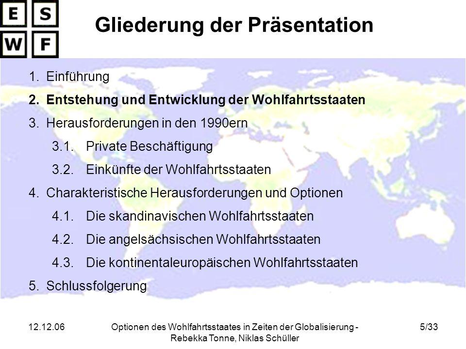 12.12.06Optionen des Wohlfahrtsstaates in Zeiten der Globalisierung - Rebekka Tonne, Niklas Schüller 5/33 Gliederung der Präsentation 1.Einführung 2.E