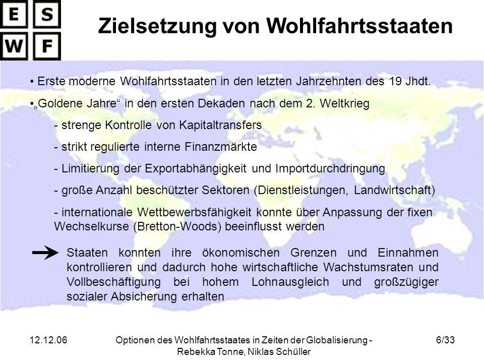 12.12.06Optionen des Wohlfahrtsstaates in Zeiten der Globalisierung - Rebekka Tonne, Niklas Schüller 7/33 Entwicklung der Wohlfahrtsstaaten in den 1970ern Herausforderung der 1970er: - Zusammenbruch des Bretton-Woods-Systems (1973) Unsicherheit der Wechselkurse Beschleunigung der Kapitalabwanderung - 1.