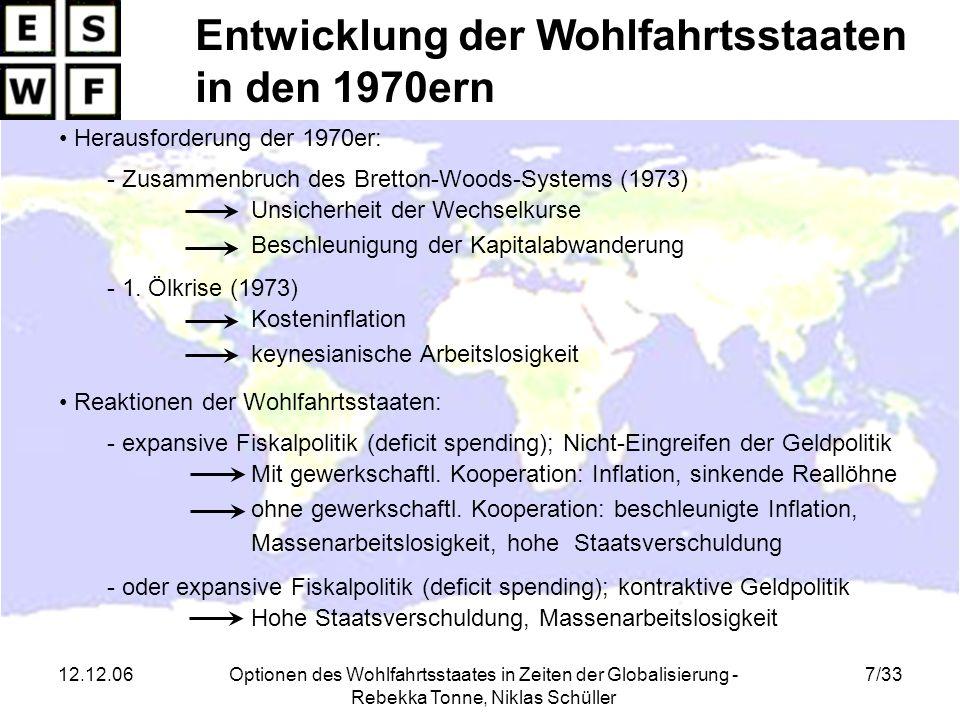 12.12.06Optionen des Wohlfahrtsstaates in Zeiten der Globalisierung - Rebekka Tonne, Niklas Schüller 28/33 Gliederung der Präsentation 1.Einführung 2.Entstehung und Entwicklung der Wohlfahrtsstaaten 3.Herausforderungen in den 1990ern 3.1.