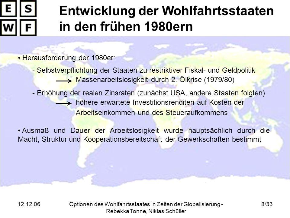 12.12.06Optionen des Wohlfahrtsstaates in Zeiten der Globalisierung - Rebekka Tonne, Niklas Schüller 19/33 Totale und sektorale Beschäftigung in % der 15- bis 64-jährigen Quelle: Spalten 1-3: OECD Economic Outlook Spalte 4-5: OECD Labour Force Statistic