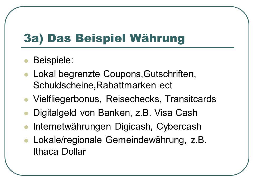 3a) Das Beispiel Währung Beispiele: Lokal begrenzte Coupons,Gutschriften, Schuldscheine,Rabattmarken ect Vielfliegerbonus, Reisechecks, Transitcards D