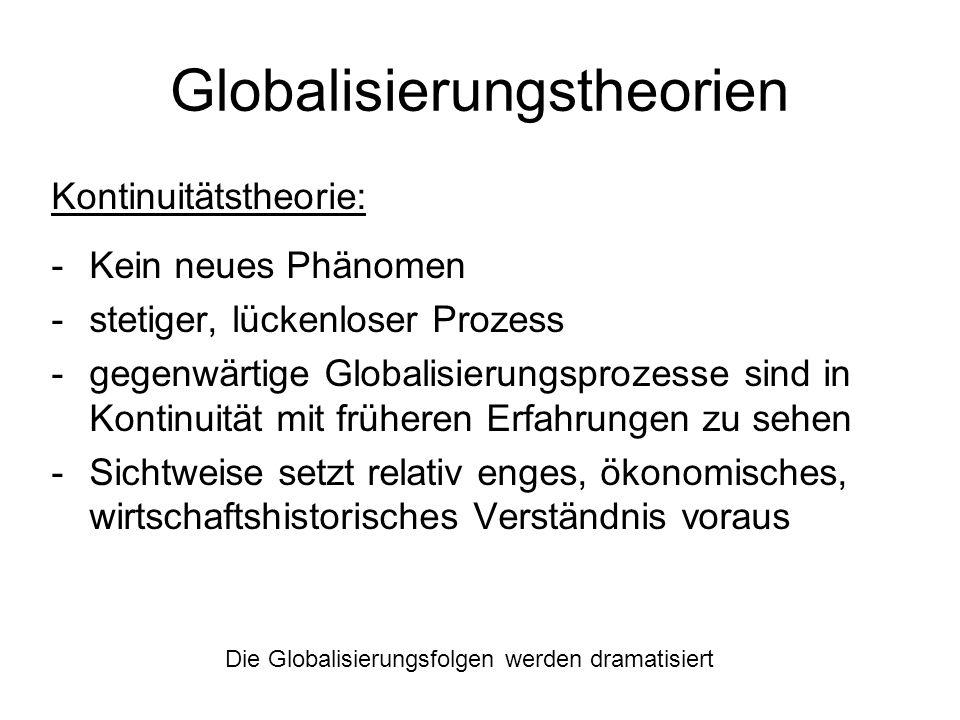 Globalisierungstheorien Kontinuitätstheorie: -Kein neues Phänomen -stetiger, lückenloser Prozess -gegenwärtige Globalisierungsprozesse sind in Kontinu