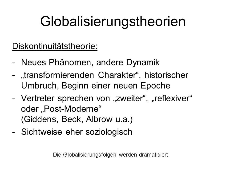 Globalisierungstheorien Diskontinuitätstheorie: -Neues Phänomen, andere Dynamik -transformierenden Charakter, historischer Umbruch, Beginn einer neuen