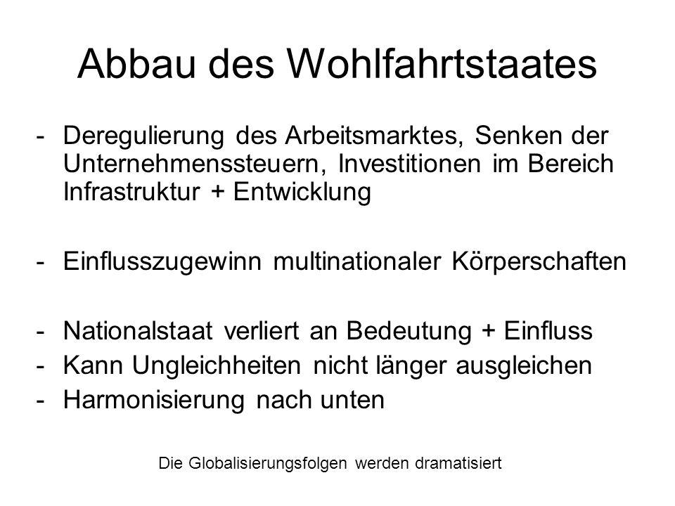Abbau des Wohlfahrtstaates -Deregulierung des Arbeitsmarktes, Senken der Unternehmenssteuern, Investitionen im Bereich Infrastruktur + Entwicklung -Ei