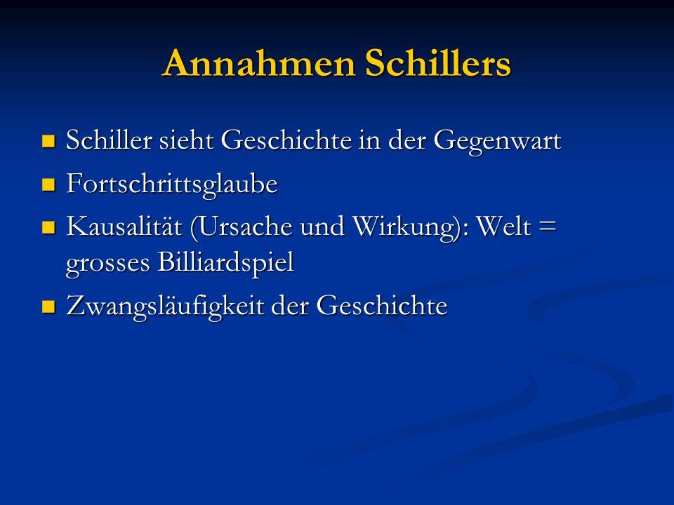 Annahmen Schillers Schiller sieht Geschichte in der Gegenwart Schiller sieht Geschichte in der Gegenwart Fortschrittsglaube Fortschrittsglaube Kausali