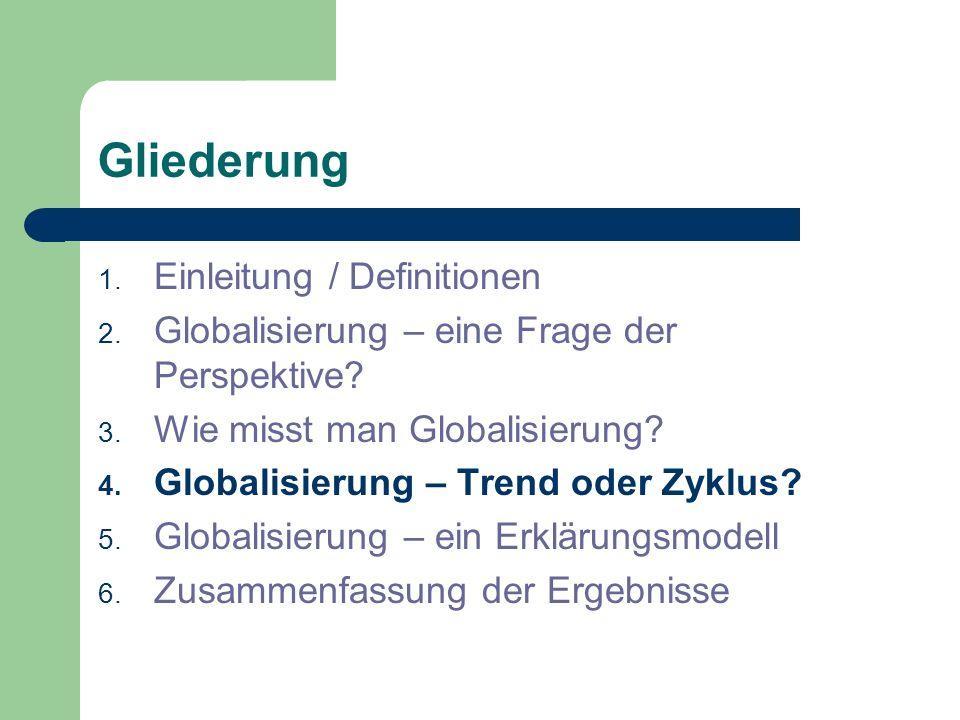Gliederung 1. Einleitung / Definitionen 2. Globalisierung – eine Frage der Perspektive? 3. Wie misst man Globalisierung? 4. Globalisierung – Trend ode