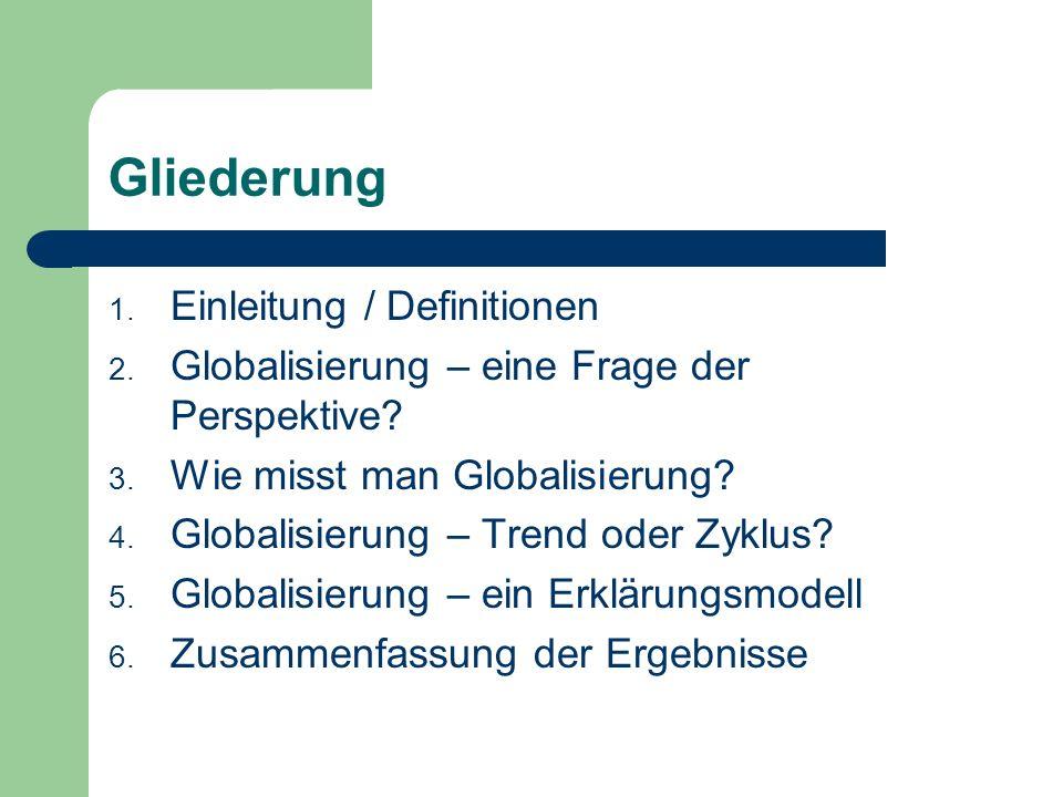 Der Prozess der Globalisierung Drei Thesen Globalisierung ist ein Phänomen der letzten 40 Jahre Globalisierung ist ein langfristiger Trend Globalisierung ist ein zyklischer Prozess