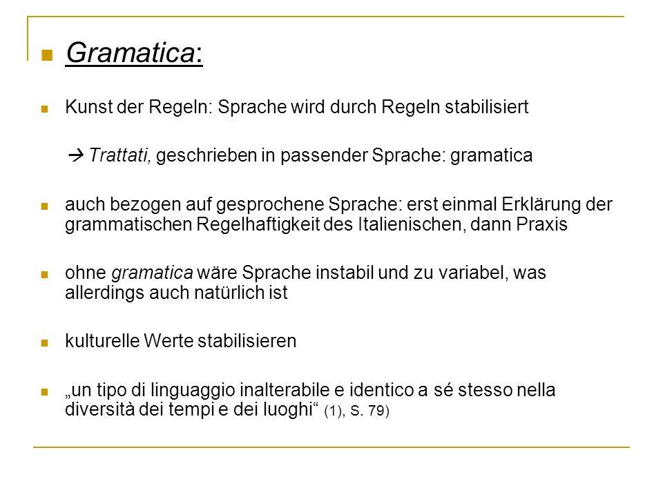 Gramatica: Kunst der Regeln: Sprache wird durch Regeln stabilisiert Trattati, geschrieben in passender Sprache: gramatica auch bezogen auf gesprochene
