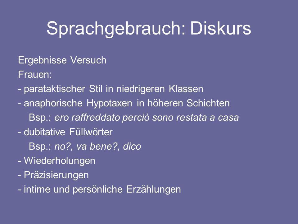 Sprachgebrauch: Diskurs Ergebnisse Versuch Frauen: - parataktischer Stil in niedrigeren Klassen - anaphorische Hypotaxen in höheren Schichten Bsp.: er