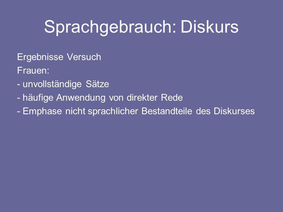 Sprachgebrauch: Diskurs Ergebnisse Versuch Frauen: - unvollständige Sätze - häufige Anwendung von direkter Rede - Emphase nicht sprachlicher Bestandte