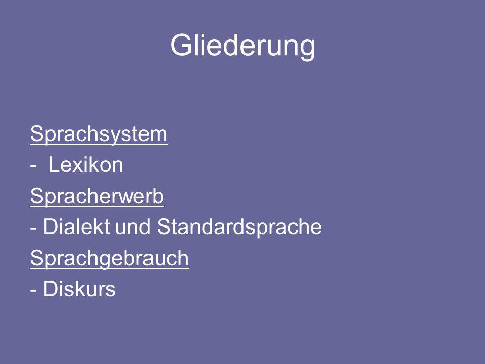Gliederung Sprachsystem -Lexikon Spracherwerb - Dialekt und Standardsprache Sprachgebrauch - Diskurs