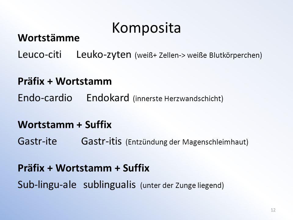 Wortstämme Leuco-citiLeuko-zyten (weiß+ Zellen-> weiße Blutkörperchen) Präfix + Wortstamm Endo-cardio Endokard (innerste Herzwandschicht) Wortstamm + Suffix Gastr-ite Gastr-itis (Entzündung der Magenschleimhaut) Präfix + Wortstamm + Suffix Sub-lingu-ale sublingualis (unter der Zunge liegend) 12 Komposita