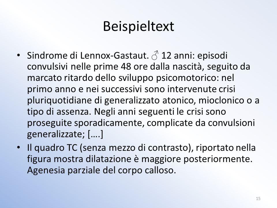 Beispieltext Sindrome di Lennox-Gastaut.