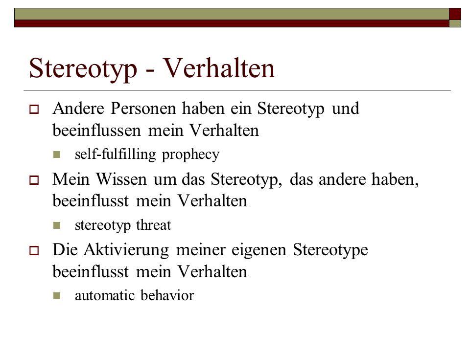 Stereotyp - Verhalten Andere Personen haben ein Stereotyp und beeinflussen mein Verhalten self-fulfilling prophecy Mein Wissen um das Stereotyp, das andere haben, beeinflusst mein Verhalten stereotyp threat Die Aktivierung meiner eigenen Stereotype beeinflusst mein Verhalten automatic behavior