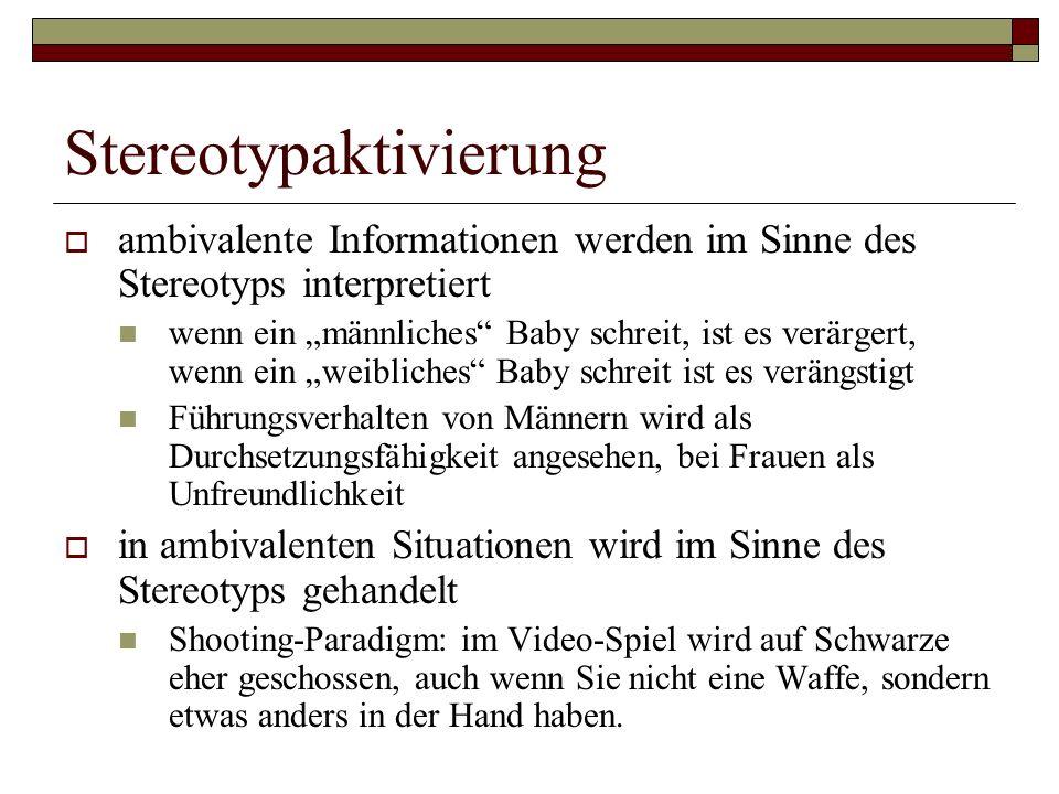 Stereotypaktivierung ambivalente Informationen werden im Sinne des Stereotyps interpretiert wenn ein männliches Baby schreit, ist es verärgert, wenn ein weibliches Baby schreit ist es verängstigt Führungsverhalten von Männern wird als Durchsetzungsfähigkeit angesehen, bei Frauen als Unfreundlichkeit in ambivalenten Situationen wird im Sinne des Stereotyps gehandelt Shooting-Paradigm: im Video-Spiel wird auf Schwarze eher geschossen, auch wenn Sie nicht eine Waffe, sondern etwas anders in der Hand haben.