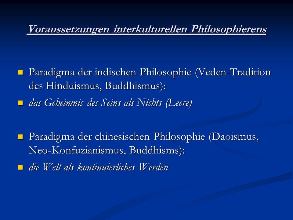 Voraussetzungen interkulturellen Philosophierens Paradigma der indischen Philosophie (Veden-Tradition des Hinduismus, Buddhismus): Paradigma der indis
