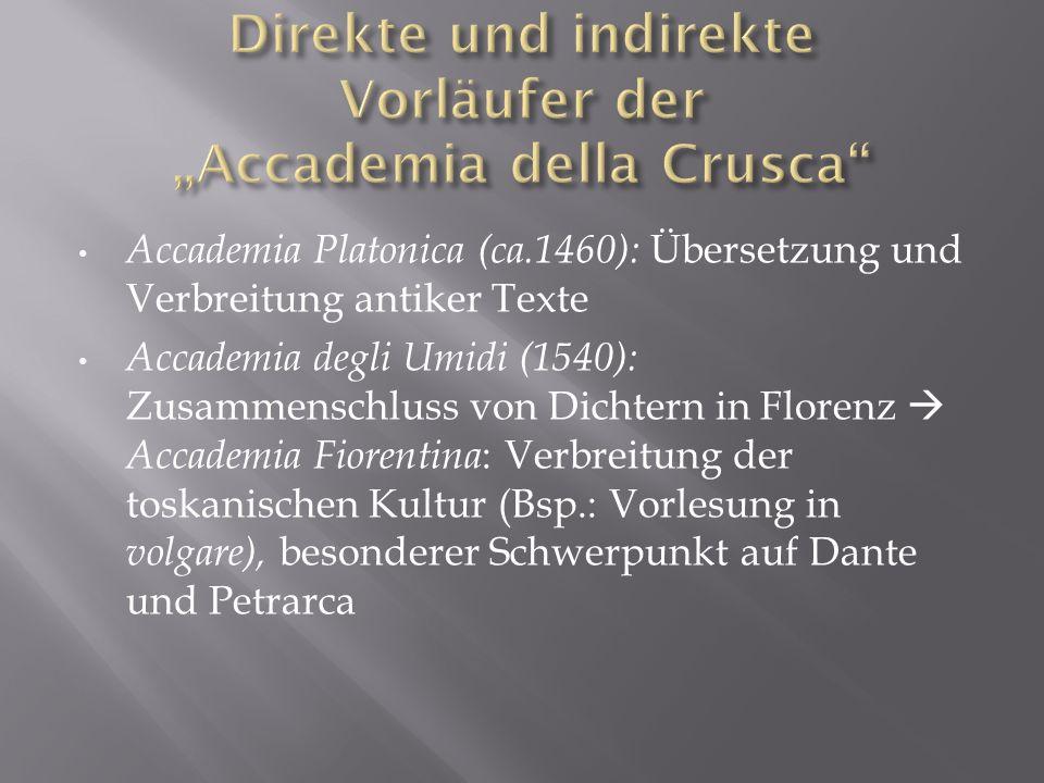 Accademia Platonica (ca.1460): Übersetzung und Verbreitung antiker Texte Accademia degli Umidi (1540): Zusammenschluss von Dichtern in Florenz Accadem