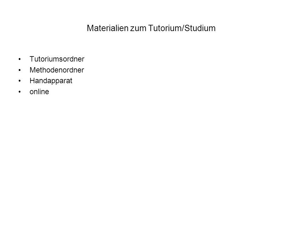 Materialien zum Tutorium/Studium Tutoriumsordner Methodenordner Handapparat online