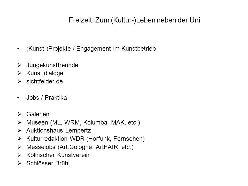 Weitere Hinweise zum Kulturprogramm in Köln choices.de (Kino) stadtrevue (Partys, Konzerte, Flohmärkte, Messen, etc.) filmforum (ML) / im Sommer: filmbar (ML) Kinos: Rex, filmpalette, OffBroadway Kunstbewusst-Reihe (ML, WRM) mit dem KunstMahl Schauspiel und Oper der Stadt Köln (6,60Euro)