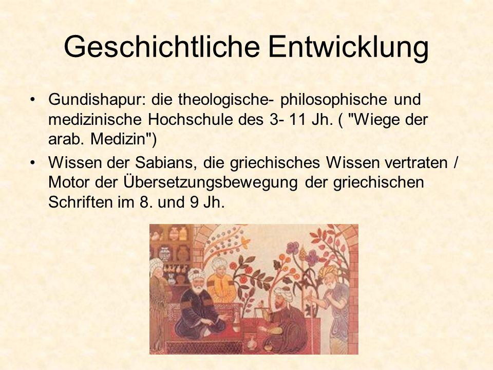 Geschichtliche Entwicklung Gundishapur: die theologische- philosophische und medizinische Hochschule des 3- 11 Jh. (