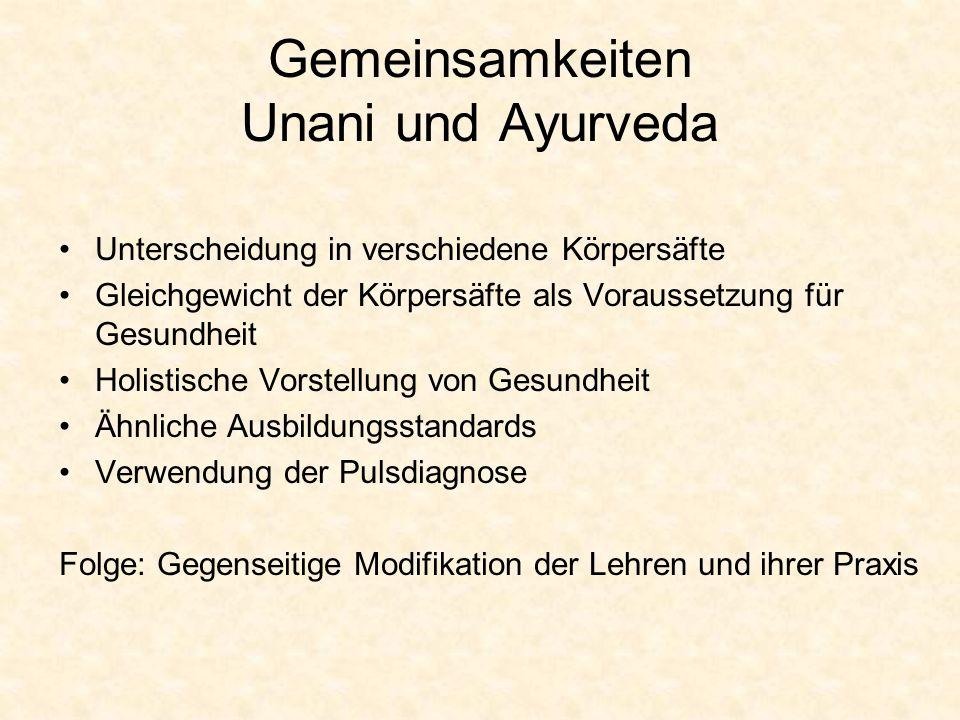 Gemeinsamkeiten Unani und Ayurveda Unterscheidung in verschiedene Körpersäfte Gleichgewicht der Körpersäfte als Voraussetzung für Gesundheit Holistisc
