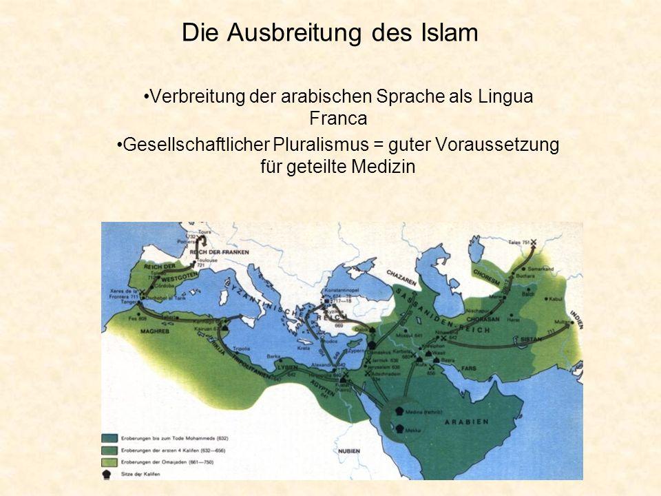 Die Ausbreitung des Islam Verbreitung der arabischen Sprache als Lingua Franca Gesellschaftlicher Pluralismus = guter Voraussetzung für geteilte Mediz