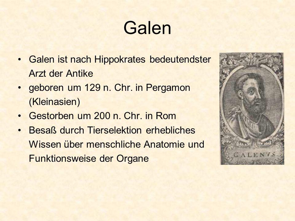 Galen Galen ist nach Hippokrates bedeutendster Arzt der Antike geboren um 129 n. Chr. in Pergamon (Kleinasien) Gestorben um 200 n. Chr. in Rom Besaß d