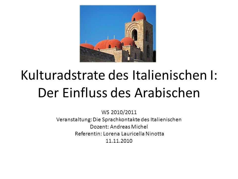 Kulturadstrate des Italienischen I: Der Einfluss des Arabischen WS 2010/2011 Veranstaltung: Die Sprachkontakte des Italienischen Dozent: Andreas Miche