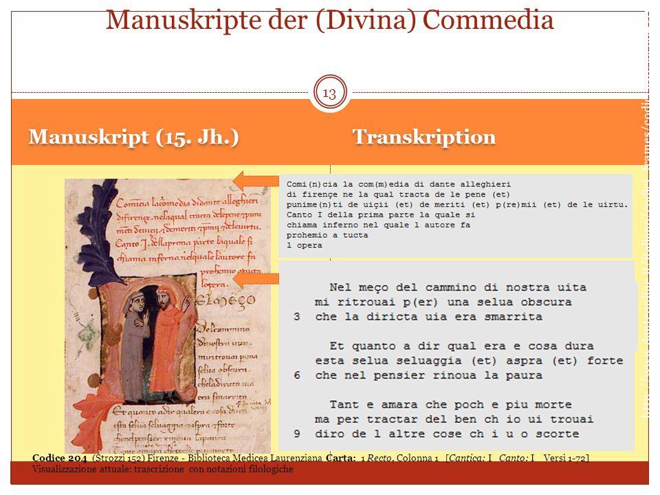 Manuskript (15. Jh.) Transkription 13 Manuskripte der (Divina) Commedia http://www.danteonline.it/italiano/codici_frames/codici.asp?idcod=204 Codice 2