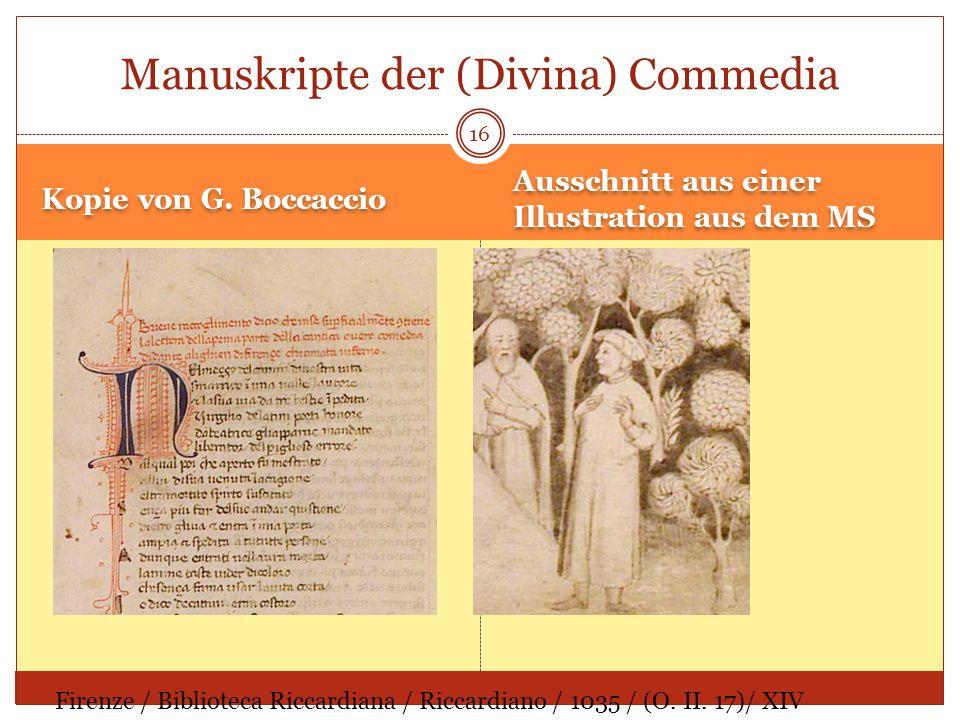 Kopie von G. Boccaccio Ausschnitt aus einer Illustration aus dem MS 16 Manuskripte der (Divina) Commedia Firenze / Biblioteca Riccardiana / Riccardian