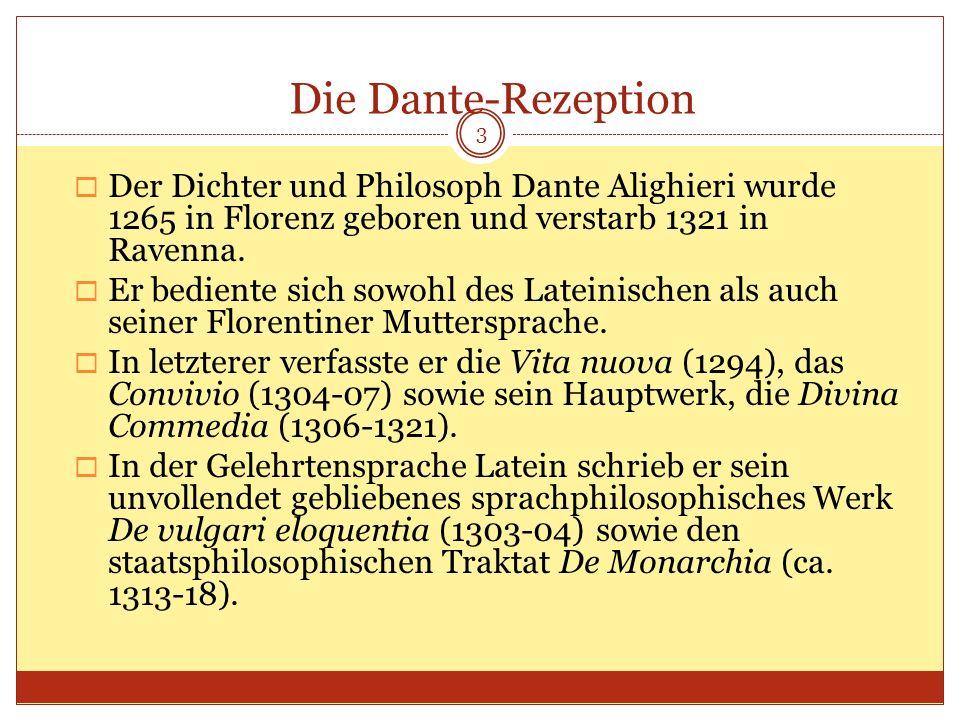 Der Dichter und Philosoph Dante Alighieri wurde 1265 in Florenz geboren und verstarb 1321 in Ravenna. Er bediente sich sowohl des Lateinischen als auc