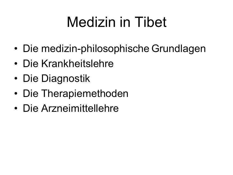 Medizin in Tibet Die medizin-philosophische Grundlagen Die Krankheitslehre Die Diagnostik Die Therapiemethoden Die Arzneimittellehre