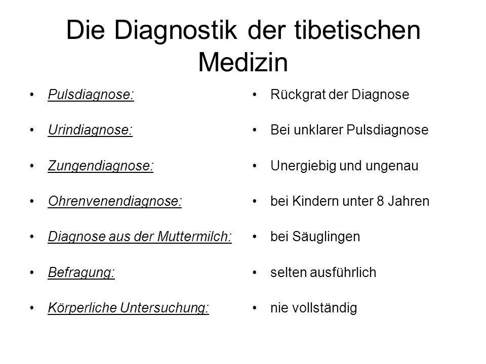 Die Diagnostik der tibetischen Medizin Pulsdiagnose: Urindiagnose: Zungendiagnose: Ohrenvenendiagnose: Diagnose aus der Muttermilch: Befragung: Körper