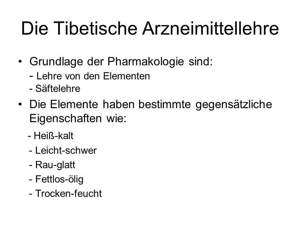 Die Tibetische Arzneimittellehre Grundlage der Pharmakologie sind: - Lehre von den Elementen - Säftelehre Die Elemente haben bestimmte gegensätzliche