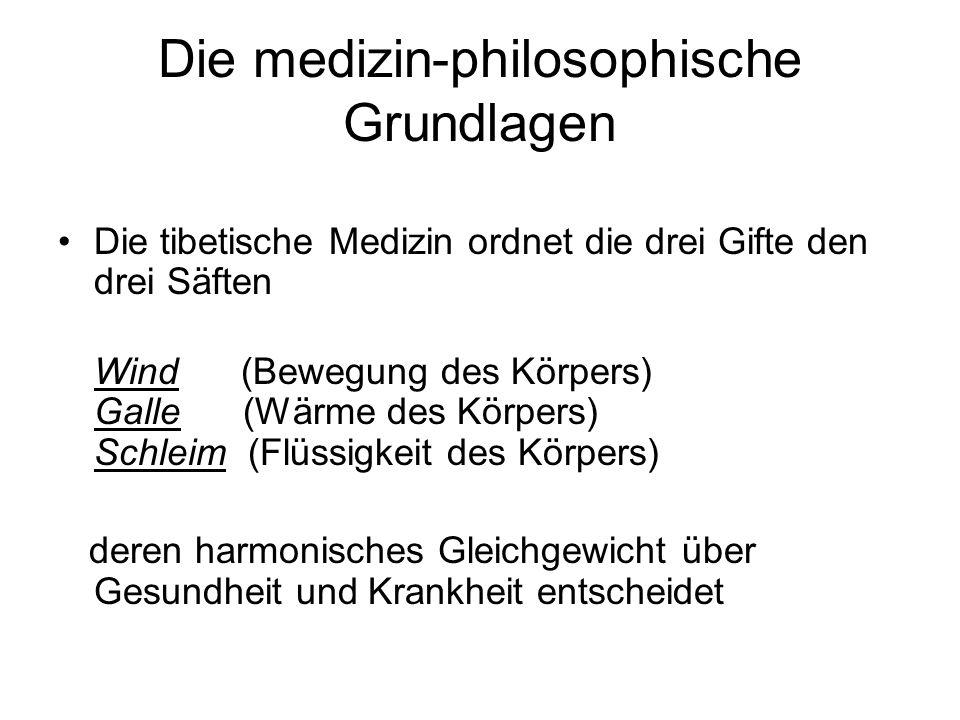 Die medizin-philosophische Grundlagen Die tibetische Medizin ordnet die drei Gifte den drei Säften Wind (Bewegung des Körpers) Galle (Wärme des Körper
