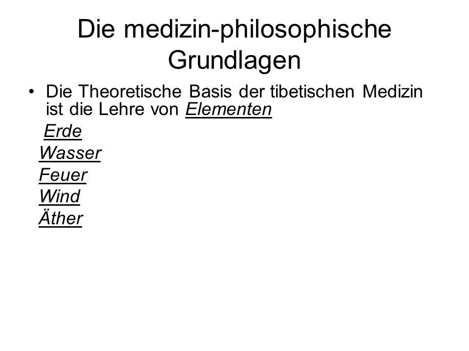 Die medizin-philosophische Grundlagen Die Theoretische Basis der tibetischen Medizin ist die Lehre von Elementen Erde Wasser Feuer Wind Äther