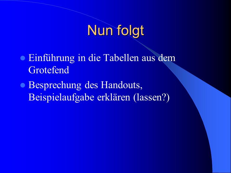 Nun folgt Einführung in die Tabellen aus dem Grotefend Besprechung des Handouts, Beispielaufgabe erklären (lassen?)