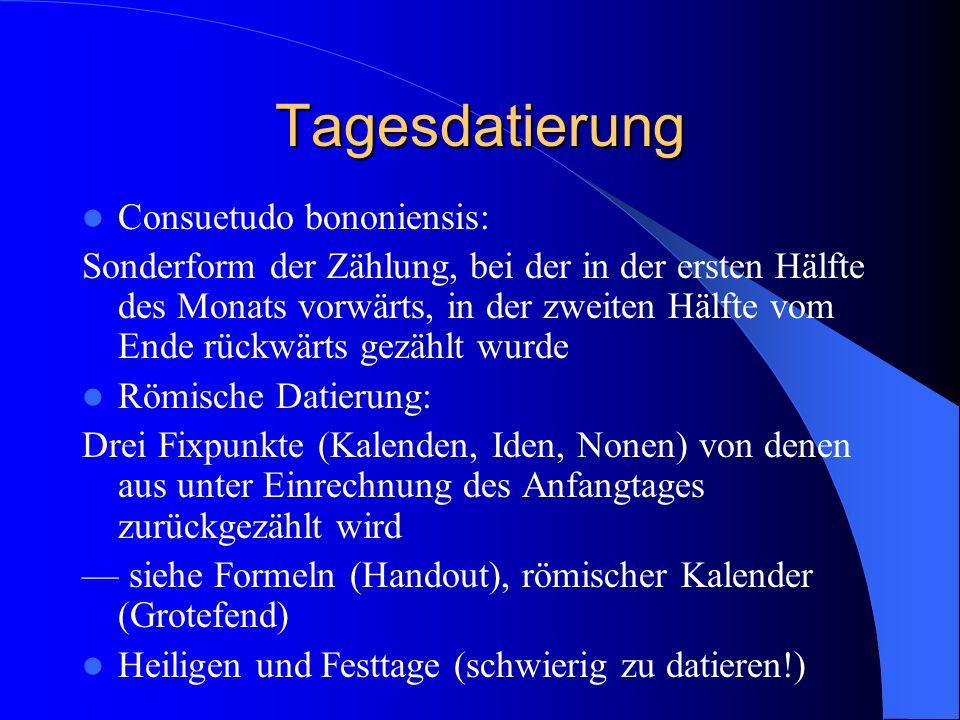 Tagesdatierung - Kloster In 3 Stunden Rhythmus wird der Tag unterteilt, z.B.: - die Vigilien (Nachtwachen, ca.