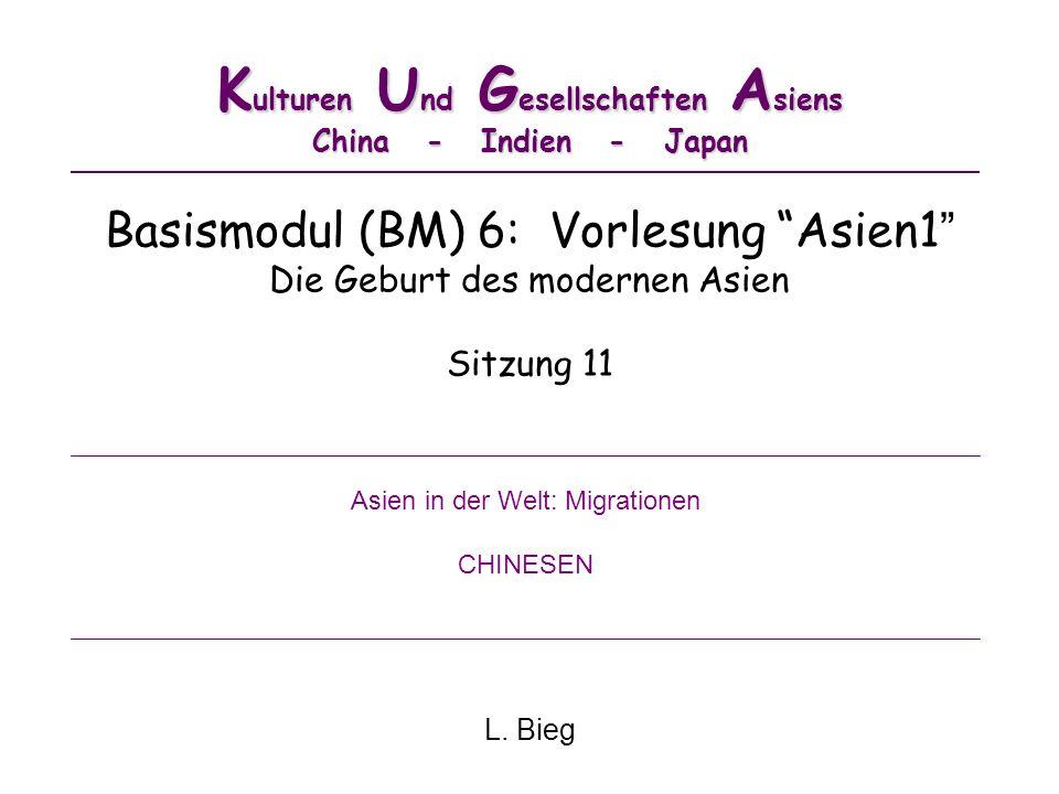 K ulturen U nd G esellschaften A siens China - Indien - Japan Basismodul (BM) 6: Vorlesung Asien1 Die Geburt des modernen Asien Sitzung 11 L. Bieg Asi